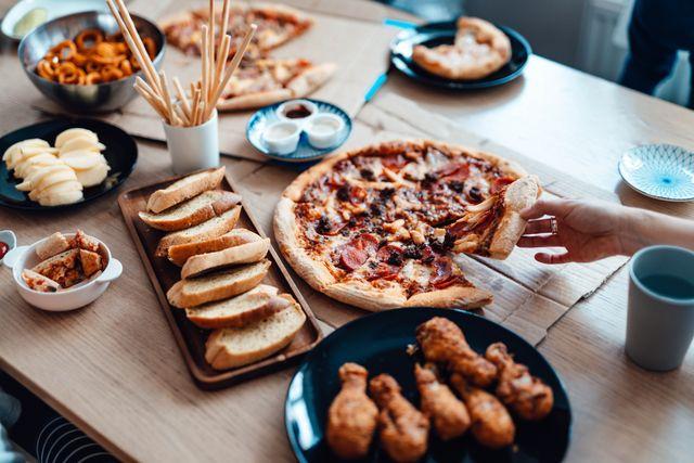 enjoying takeaway meals at home