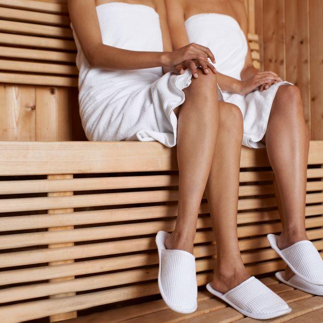 Enjoying the sauna
