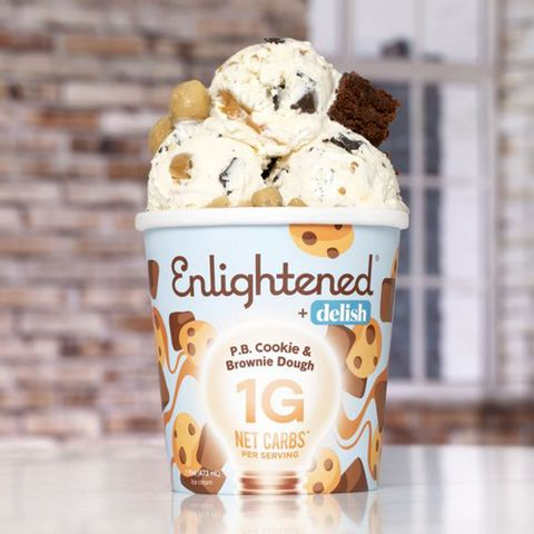 a pint of enlightened and delish's new keto friendly pb cookie  brownie dough ice cream