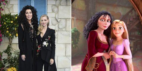 Cher y Amanda Seyfried con Madre Gothel y Rapunzel