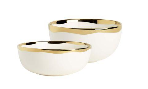Ensaladera de porcelana blanca y dorada