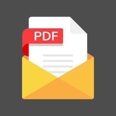 Envelope in PDF File. Email PDF Document Flat Design.