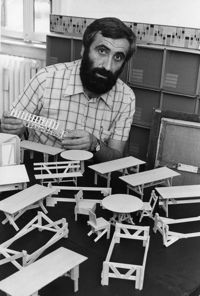 the italian designer enzo mari showing the furniture collection autoprogettazione models milan, 1974 photo by adriano alecchimondadori via getty images