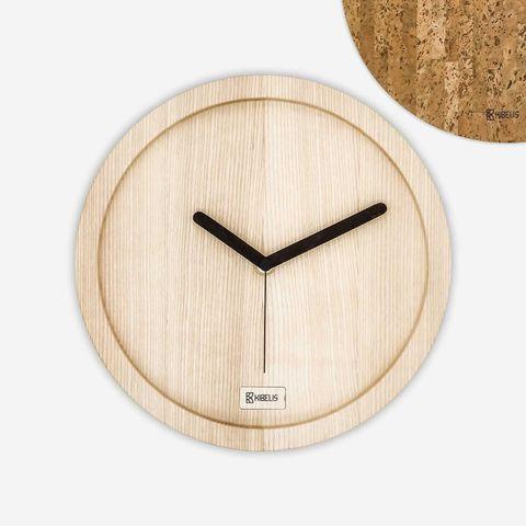 Clock, Wall clock, Wood, Beige, Home accessories, Furniture, Interior design, Plywood,