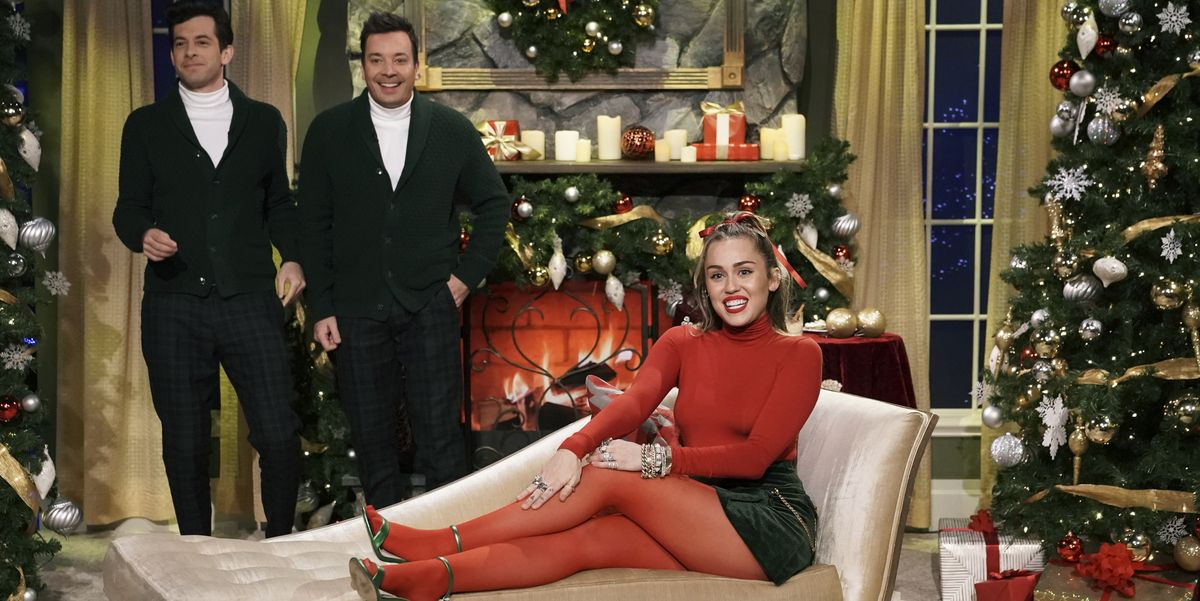 """Watch Miley Cyrus """"Santa Baby"""" Jimmy Fallon - Miley Cyrus Just Made One of Your Fave Christmas Songs Way More Feminist - Cosmopolitan.com thumbnail"""