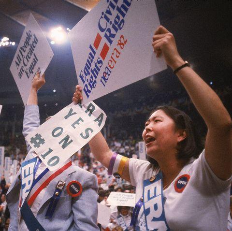 Equal Rights Amendment supporters waving