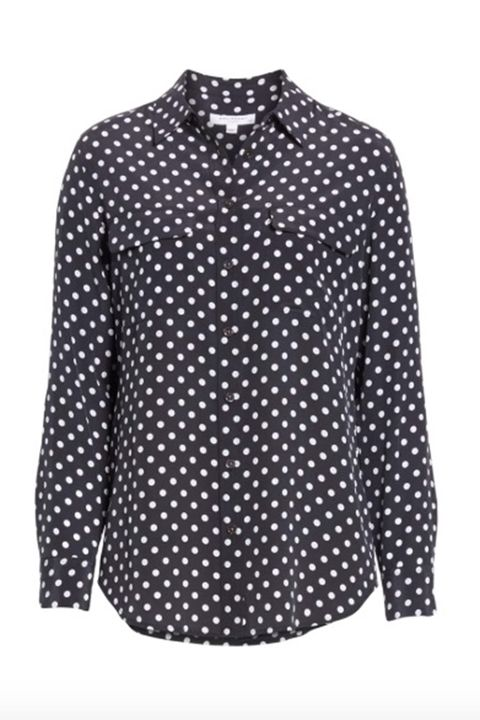 Clothing, Pattern, Polka dot, Sleeve, Shirt, Design, Blouse, Collar, Outerwear, Top,