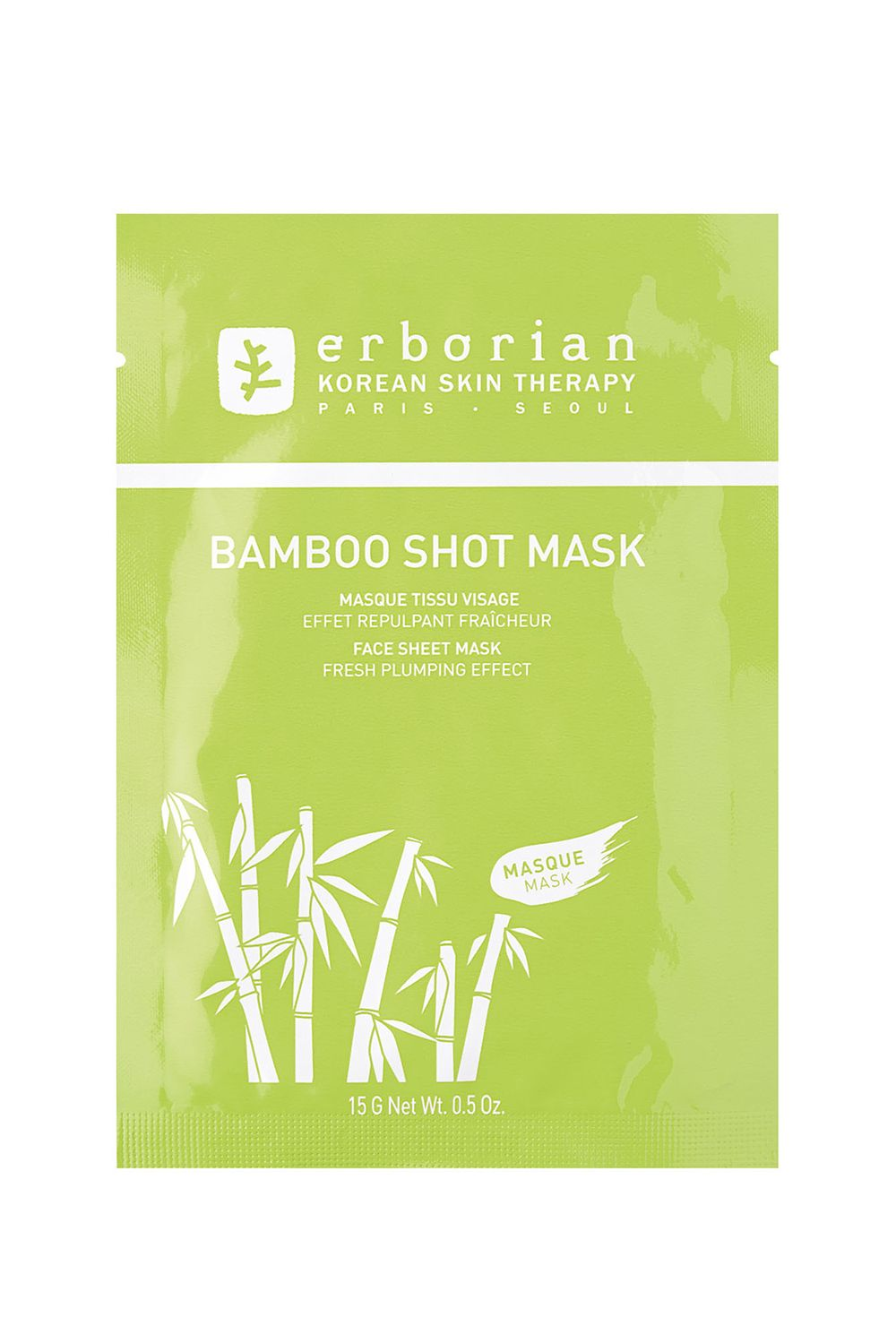 Erborian Bamboo Shot Mask Erborian Bamboo Shot Mask, $5 SHOP IT Tight, parched skin is not cute, and definitely not a comfortable feeling. Treat your skin to a hefty dose of bamboo, which is praised for its skin-plumping powers.