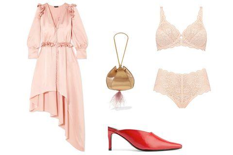 Clothing, Pink, Lingerie, Footwear, Dress, Shoe, Undergarment, Peach, Beige, Nightwear,