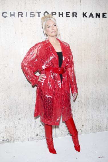 Clothing, Red, Outerwear, Fashion, Footwear, Costume, Fashion design, Pattern, Raincoat,