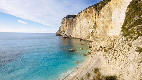 Erimitis Bay high angle view, Paxos Island, Ionian Islands, Greece