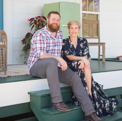 ben and erin napier sitting on porch