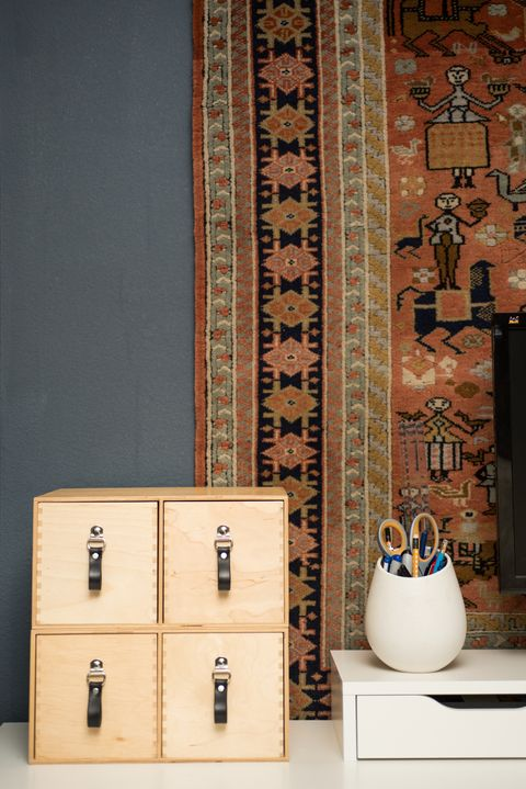 Furniture, Room, Shelf, Wall, Ceramic, Pottery, Tile, Chest of drawers, Wallpaper, Wood,