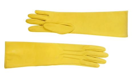 Glove, Safety glove, Yellow, Personal protective equipment, Hand, Fashion accessory, Finger, Formal gloves, Wrist,