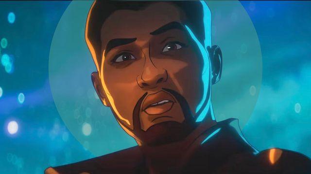 primer plano del personaje de animación tchalla como star lord en el episodio 2 de la serie de marvel en disney what if qué pasaría si