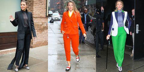 Clothing, Street fashion, Suit, Orange, Green, Fashion, Jacket, Blazer, Pantsuit, Outerwear,