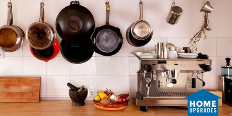 Cookware and bakeware, Room, Kitchen, Pot rack, Furniture, Frying pan,