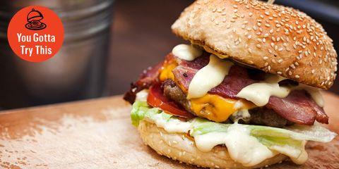 Dish, Food, Cuisine, Hamburger, Ingredient, Fast food, Breakfast sandwich, Junk food, Buffalo burger, Burger king premium burgers,