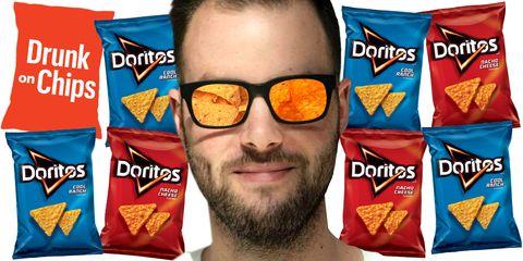 Junk food, Snack, Facial hair, Glasses, Beard, Eyewear, Food,
