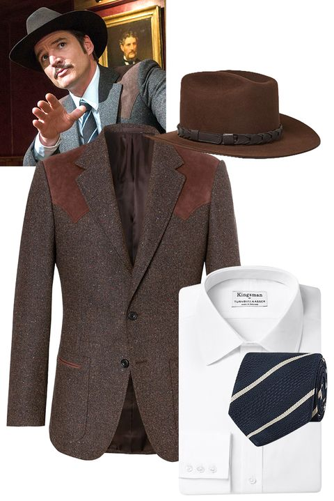 Suit, Clothing, Formal wear, Outerwear, Hat, Brown, Blazer, Product, Jacket, Fedora,