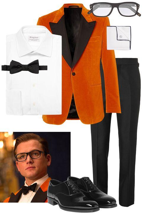 Suit, Formal wear, Clothing, Orange, Tuxedo, Tie, Yellow, Outerwear, Bow tie, Blazer,