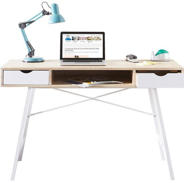 escritorio de diseño nórdico en color blanco y madera
