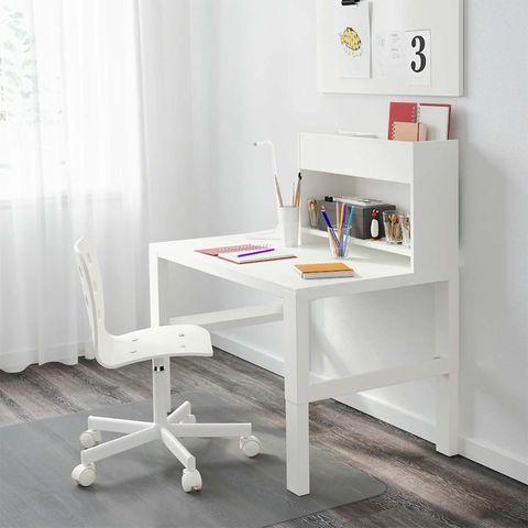 escritorio con módulo adicional, blanco påhl