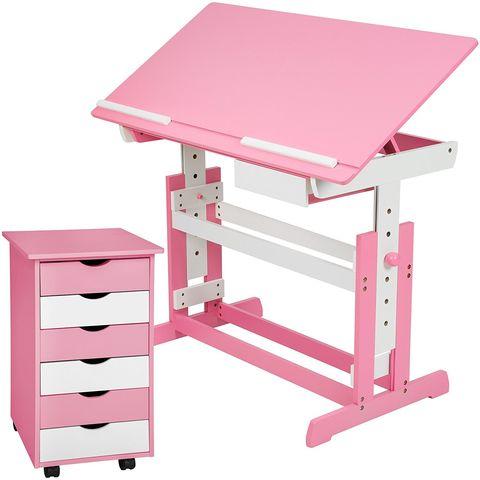 Escritorio infantil y cómodade color rosa