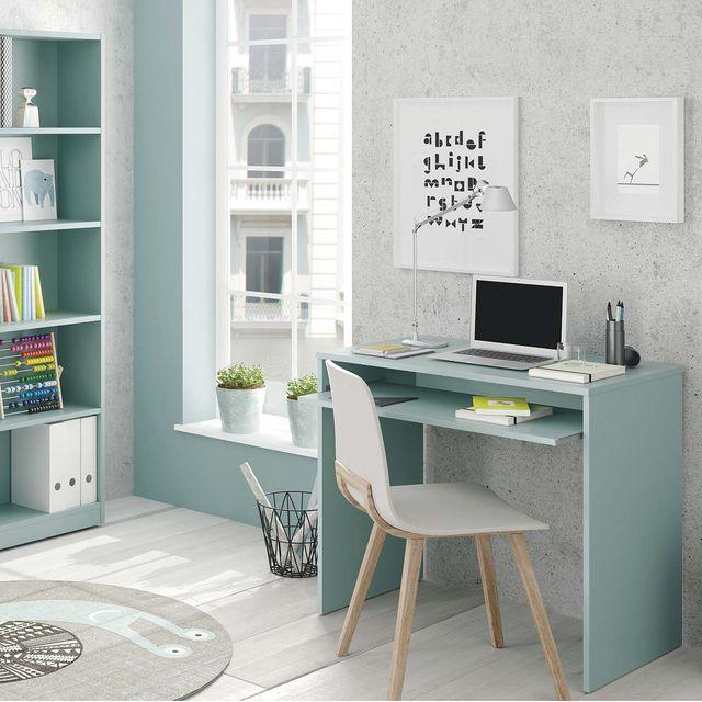 escritorios infantiles y juveniles mesa y estantería en verde