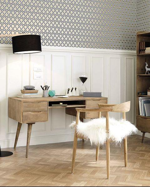 Manta de pelo largo: en la silla del escritorio