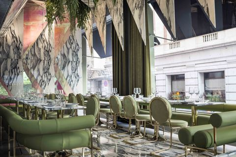 Green, Interior design, Furniture, Architecture, Chair, Room, Building, Table, Plant, Restaurant,