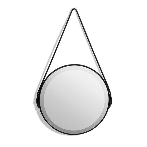 espejo biselado negro, con cuerda para colgar modelo lien