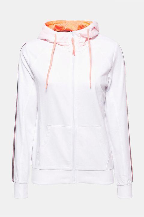 Hood, Clothing, White, Hoodie, Outerwear, Sleeve, Sweatshirt, Jacket, Orange, Zipper,