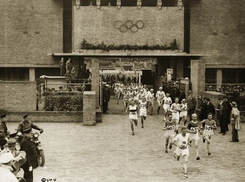 olympic games, summer 1928, amsterdam the marathon, departure from the stadium photo by george rinhartcorbis via getty images