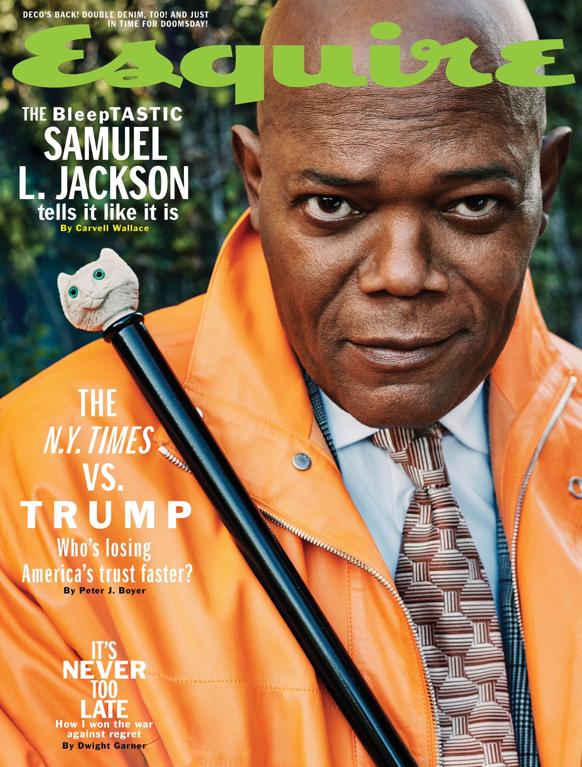 Samuel L. Jackson covers the April issue of Esquire.