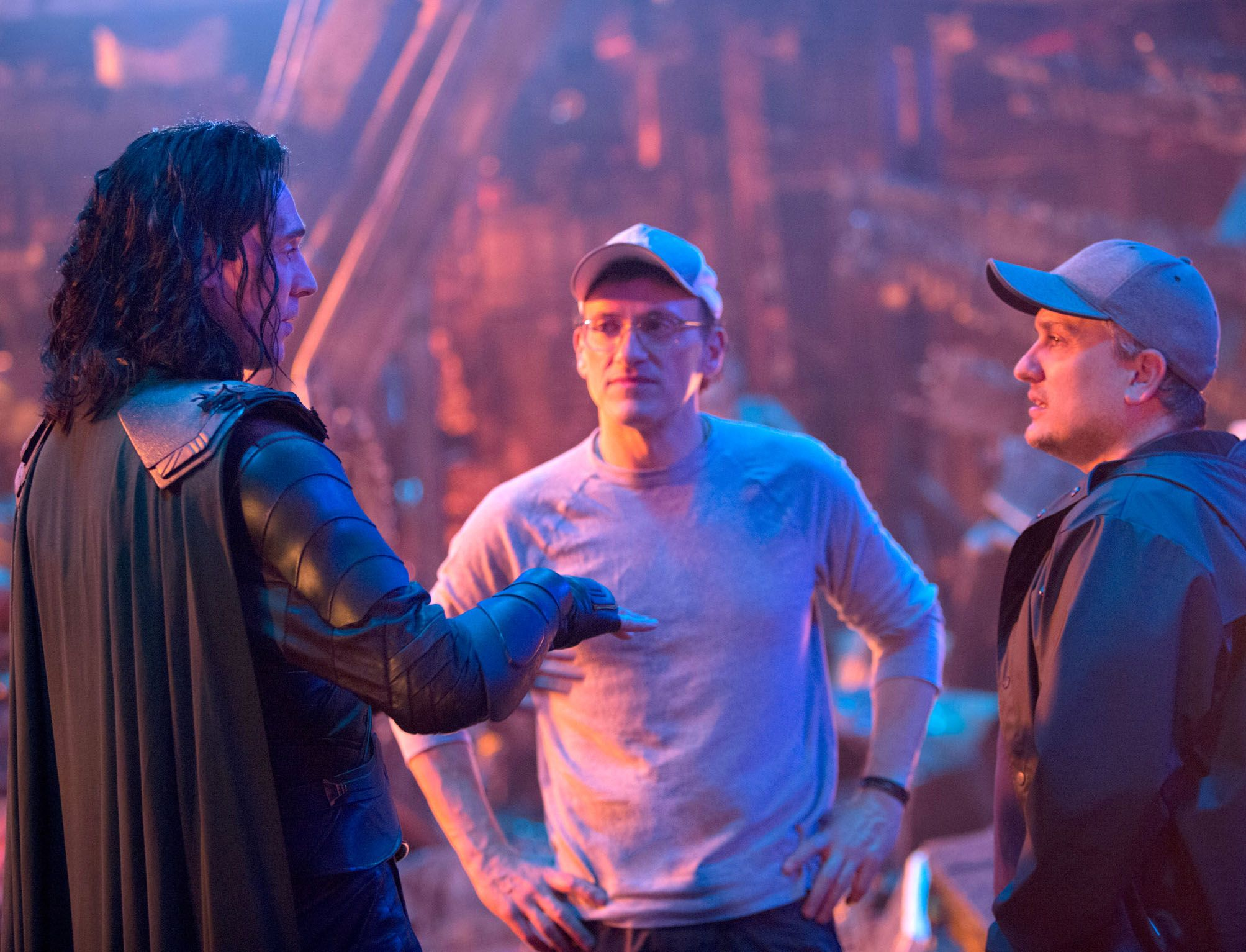 Anthony and Joe directing Tom Hiddleston as Loki in Avengers: Infinity War .