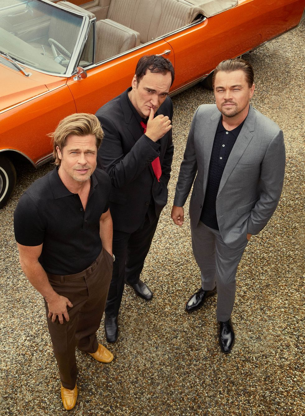 """Brad Pitt, Quentin Tarantino, and Leonardo DiCaprio """"This is the closest thing I've done to Pulp Fiction ,"""" Tarantino says of his new film."""