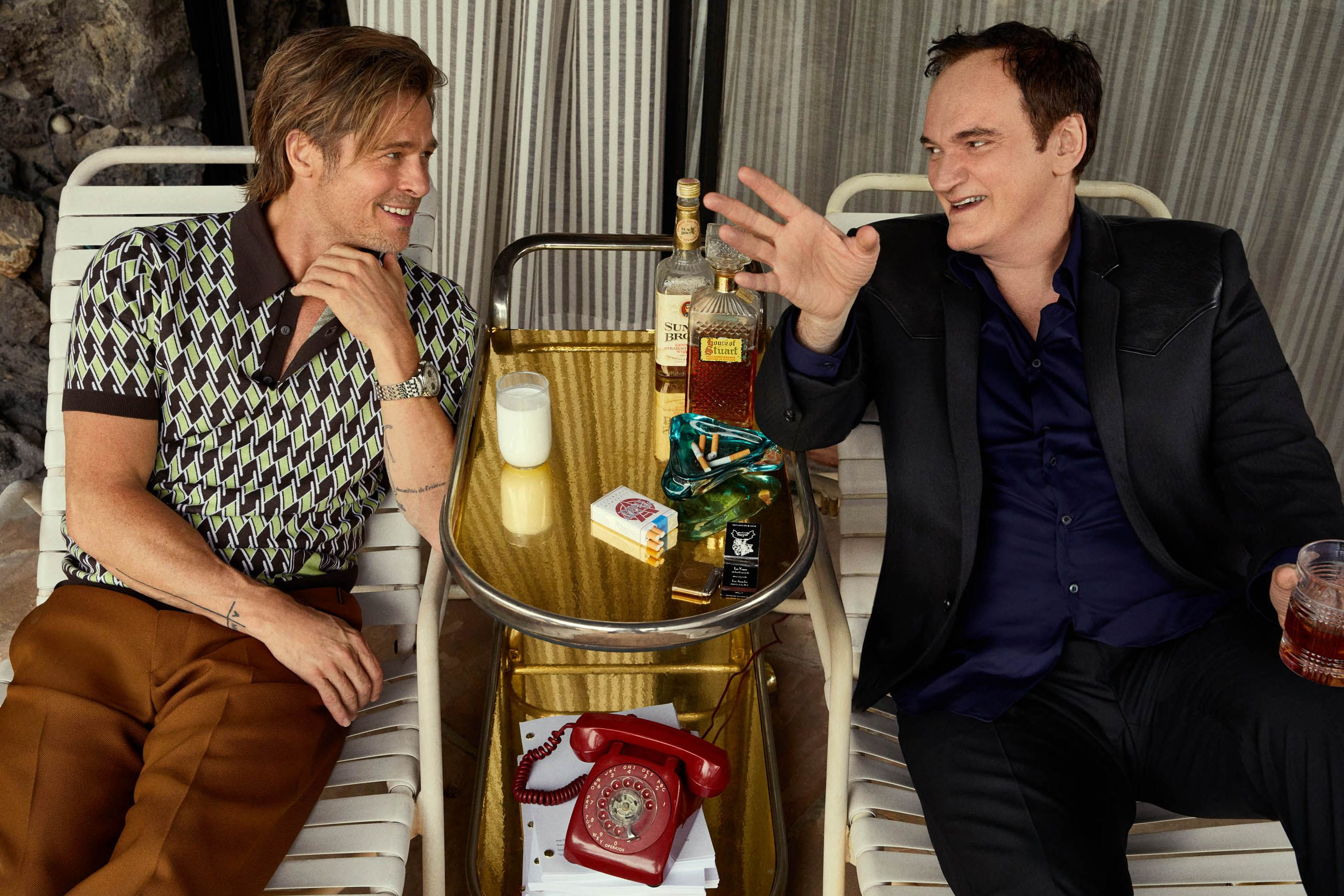 """Brad Pitt and Quentin Tarantino """"It used to be movies were the pop-culture conversation and it was much rarer for a TV show to break into that place."""" —Quentin Tarantino"""