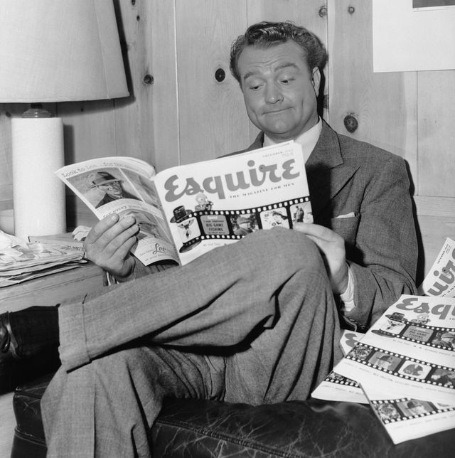 american actor and entertainer red skelton 1913   1997 reads an article about himself in 'esquire' magazine on the set of the mgm film 'the clown', 1952  photo by archive photosgetty images