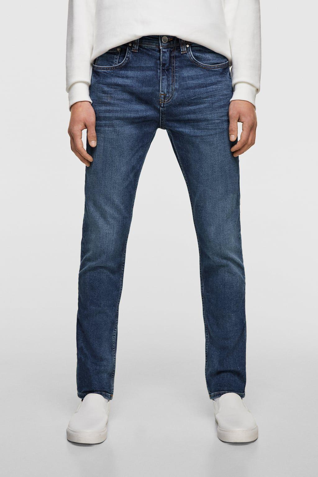 NUOVO H/&M skinny slim fit caviglia jeans lavato stretch denim vita regolare