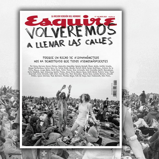 imagen de la portada del número de mayo de 2020 de la revista esquire en la que un grupo de personas asiste a un concierto multitudinario