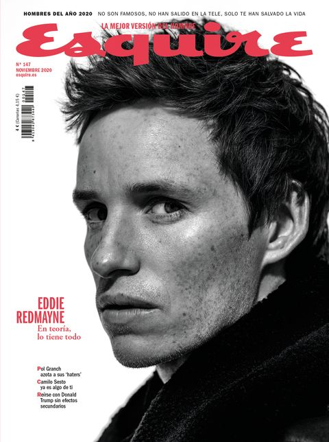 the november 2020 cover of esquire spain magazine, featuring eddie redmayne