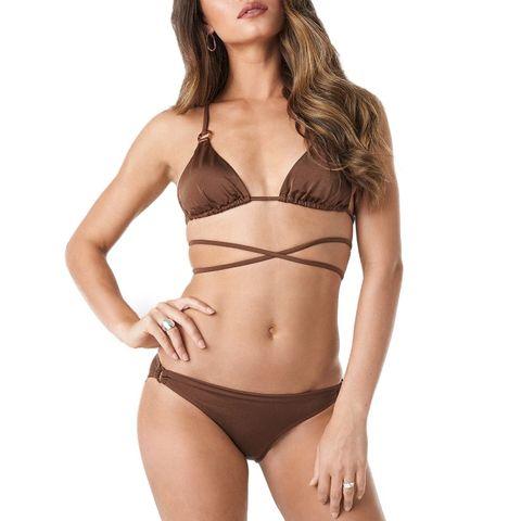 ess bikini top trendyol brown