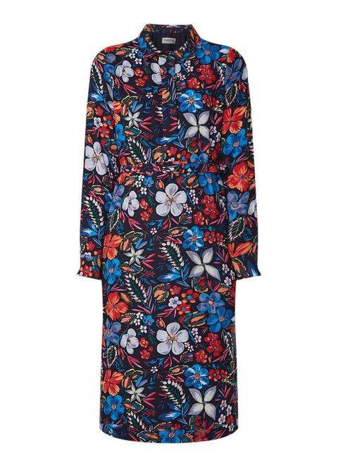 Clothing, Sleeve, Blue, Day dress, Dress, Cobalt blue, Pattern, Collar, Electric blue, Design,