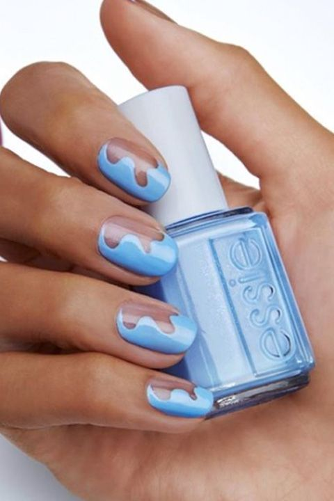essie blue wave manicure