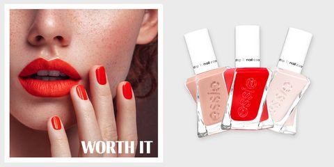 Nail polish, Red, Nail, Nail care, Cosmetics, Skin, Manicure, Lip, Beauty, Orange,