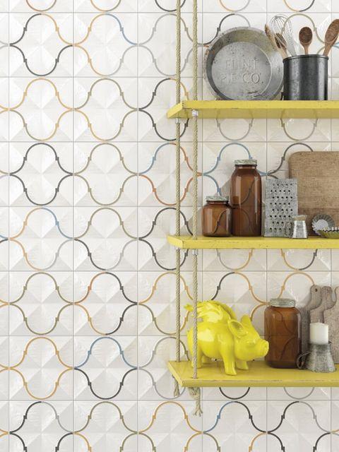 Yellow, Wall, Wallpaper, Tile, Pattern, Room, Textile, Flooring, Interior design, Tile flooring,