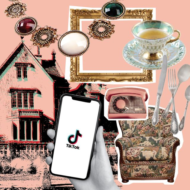 smartphone and antique estate sale finds