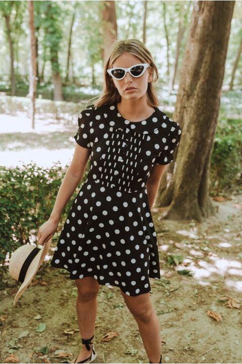 Clothing, Polka dot, Pattern, White, Dress, Eyewear, Footwear, Design, Shoulder, Fashion,