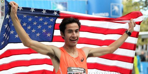 Diego Estrada after winning the 2015 U.S. half marathon championship